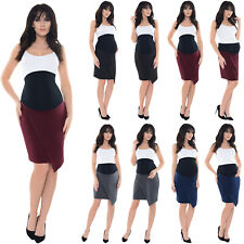 Purpless Maternity Pregnancy Asymmetric Formal Elasticated Belly Band Skirt 1508