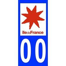 """2X Stickers Plaques Auto Fond Bleu """"Île de France"""""""