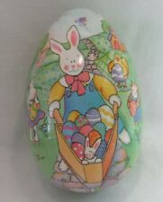Vtg Paper Mache Easter Egg Candy Container West Germany Farm Bunny