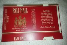NOS vintage Pall Mall unfolded cigarette pack wrapper King Size 2 (#9)