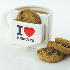 I Love Biscuits Heart Mug Tea Coffee Cup & Cookie Holder Novelty Retro Gift NEW