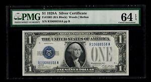 1928A $1 Silver Certificate, Fr#1601 (RA Block), PMG Choice Uncirculated 64 EPQ