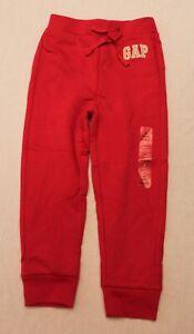Gap Boy's Logo Pull On Elastic Waist Soft Fleece Joggers KJ8 Red Size 4Y NWT