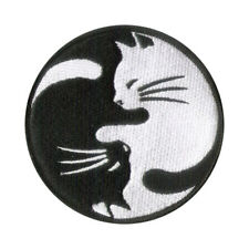 "3 1/2"" Cat Patch - Merrowed Edge, Wax Backing (Iron On or sew on) Black & White"