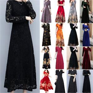 Women's High Waist Maxi Dress Evening Party Casual Swing Long Sundress Plus Size