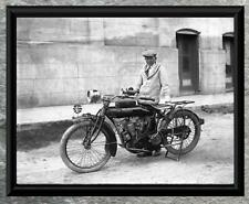 Classic... Man Riding Early Indian Motorcycle . Antique 8x10 Photo Print