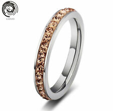 women Ring size 7-11 Titanium Stainless Steel Crystal Wedding silver fashion