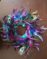 Peacock feather shades large Wreath hanging wall decoration hand made purple