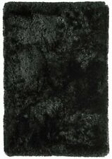 Plush Black Thick Luxurious Deep Soft Modern Polyester Non Shed Shaggy Rugs...