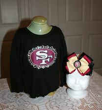 San Francisco 49er's infant baby girl 18m black long sleeve shirt with hair bow