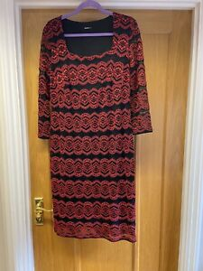 Ladies Red & Black Lace Dress From ROMAN UK 18 VGC