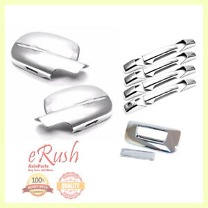 FOR 2007-2013 CHEVY SILVERADO 4D CHROME DOOR HANDLE+TAILGATE+MIRROR COVERS COMBO