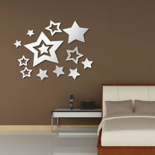 Mirror Removable Star Decals Art Mural Wall Sticker Home Modern Decor Silver