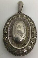 Large Sterling Victorian Locket - Fancy Design Engraved Crane (S98)