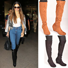 Ladies Womens Low Wedge Heel Knee High Boots Zip Casual Fashion Shoes Size UK 6