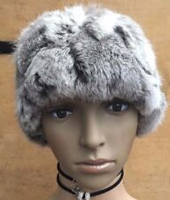 natural grey white real genuine rabbit fur pelt ear warmer headband unisex hat