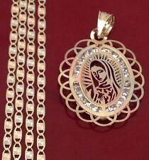 Religiuos 14k Yellow Rose Gold Virgin Mary Charm Pendant Valentino chain 18 INcH