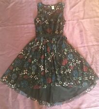 Disney Woman's Vintage Style Floral Princess Dress Asymmetrical Hem Summer Sz 6
