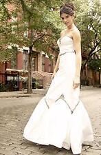 NICOLE MILLER EMBELLISHED SILK WEDDING BRIDAL DRESS GOWN Sz 6 $2600 LJ0003