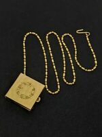 Vintage Gold Tone Square Trinket Box Pill Case On Pocket Chain