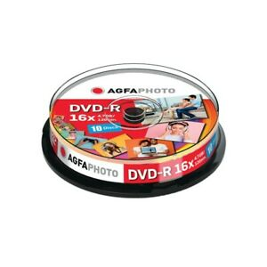 AgfaPhoto DVD-R 4.7GB 16x Spindle (10 Pack) Cakebox Blank Media Recordable
