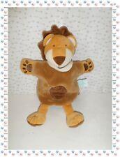 §  - Doudou Semi Plat Marionnette Lion Marron Beige Blanc Savane  Baby Nat