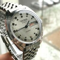 Soviet Export SEKONDA Russian Calendar Automatic USSR Men's Slava Chrome Watch