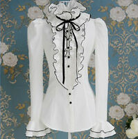 Womens Victorian Frilly Ruffle Sleeves Black Bow Tops High Neck Shirt Blouse Sz