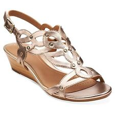 Clarks Women's Playful Tunes Low Wedge Sandal Gold Leather Size 7.5 MEDIUM