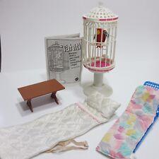 Vintage 1985 Mattel Barbie Tahiti Pet Parrot Bird & Cage Outdoor Furniture Set