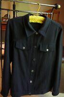 Black Silk Linen Hopsack Shirt Banded Jacket Top; Sz Medium; Cotton Connection