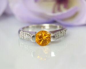Gorgeous 18K White Gold Natural Diamonds & Round Orange Citrine Solitaire Ring