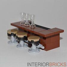 LEGO Furniture: Bar With Stools - Brown Bar w/ 3 Stools & Glasses   [custom set]