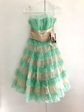 Betsey Johnson Cupcake Tiered Evening Dress  Prom Style Vintage Cute Mint Creme