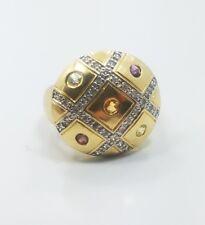 Beautiful Modern Gold Wash Sterling Silver 925 Cirtine Garnet Amethyst Ring