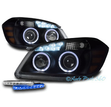 FOR 05-10 CHEVY COBALT HALO LED BLACK PROJECTOR HEADLIGHT HEADLAMP +BLUE DRL KIT