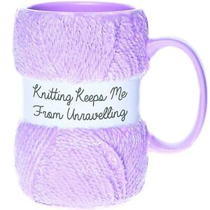 'Knitting Keeps Me From Unravelling' Knitting Yarn Mug | Wool Cup Gift For Her