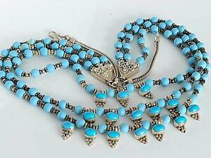 "Vintage Sterling Silver & Turquoise Fancy Triple Strand Dangle Drop Necklace 18"""