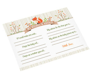 woodland theme baby shower 24 Wishes Cards Advice guest book alternative