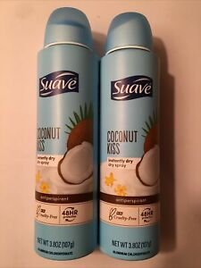 (2 CANS-NEW) Suave Dry Spray Antiperspirant Coconut Kiss 3.8ozEACH EXP:6/23