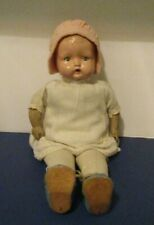 "Vtg Composition 12"" Baby Doll Tin Eyes, Rubber Arms, Cloth Body Dressed"