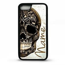 Gold skull aztec mayan marble effect pattern personalised name phone case cover