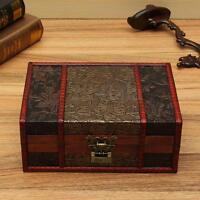 Vintage Wood Treasure Lock Chest Wooden Jewelry Storage Box Case Organizer
