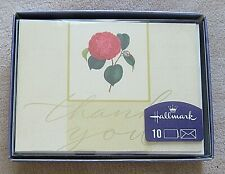 Hallmark Blank Thank You Note 10 Cards and Envelopes Rose Pattern USA New in Box