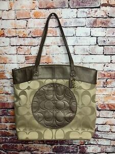 COACH F18335 LAURA Signature Tote Large Shopper Bag - Khaki / Copper