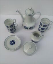 HOLLOHAZA COFFEE TEA SERVICE FOR 6 WHITE BLUE FLOWER WITH CREAMER SUGAR BOWL