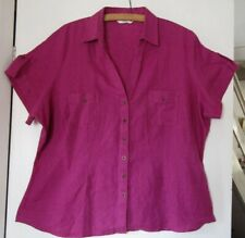Marks and Spencer UK20 fuschia linen blouse top button up v neck