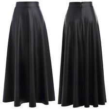 Long Skirt Synthetic Leather Women's High Waist Skater Skirts Dress Black S-XL
