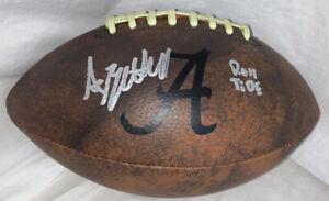 Agiye Hall Signed Alabama Vintage Logo Football w/ PROOF & JSA & Roll Tide