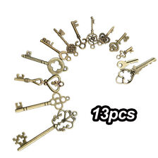 13pcs/Set Vintage Old Look Skeleton Keys DIY Bronze Tone Pendants Mix Jewelry